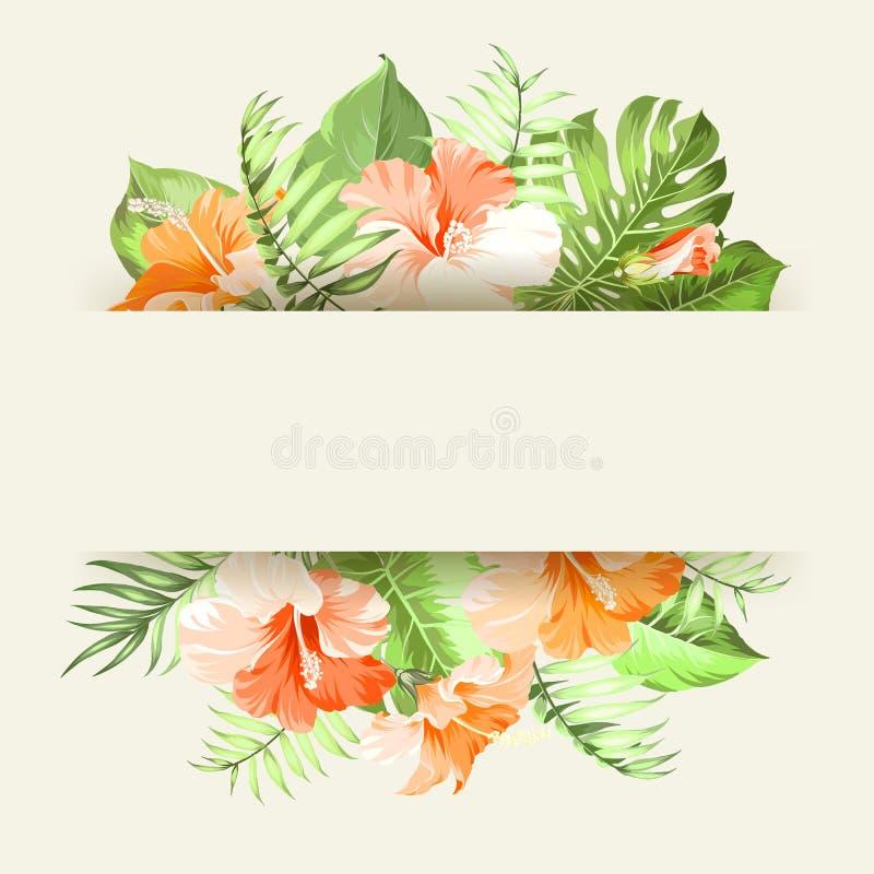 Τροπική γιρλάντα λουλουδιών απεικόνιση αποθεμάτων
