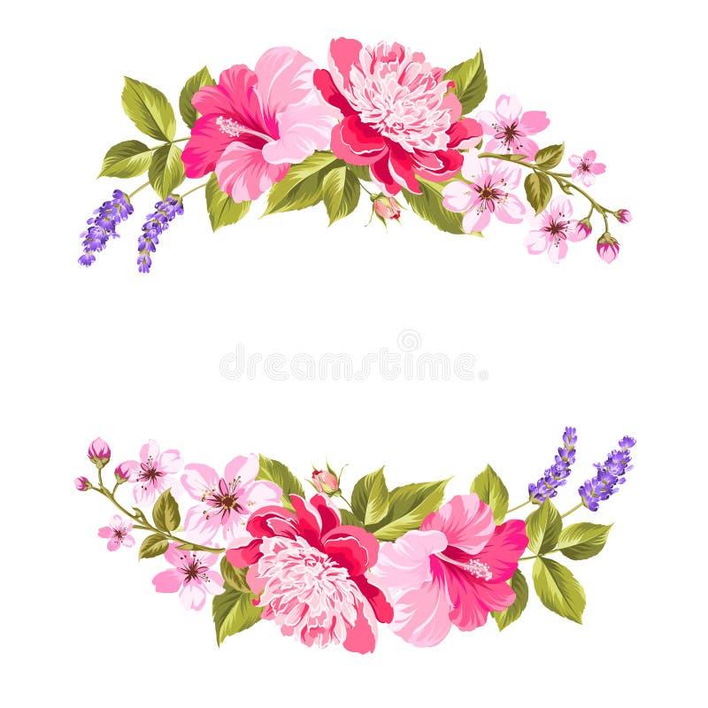 Τροπική γιρλάντα λουλουδιών διανυσματική απεικόνιση