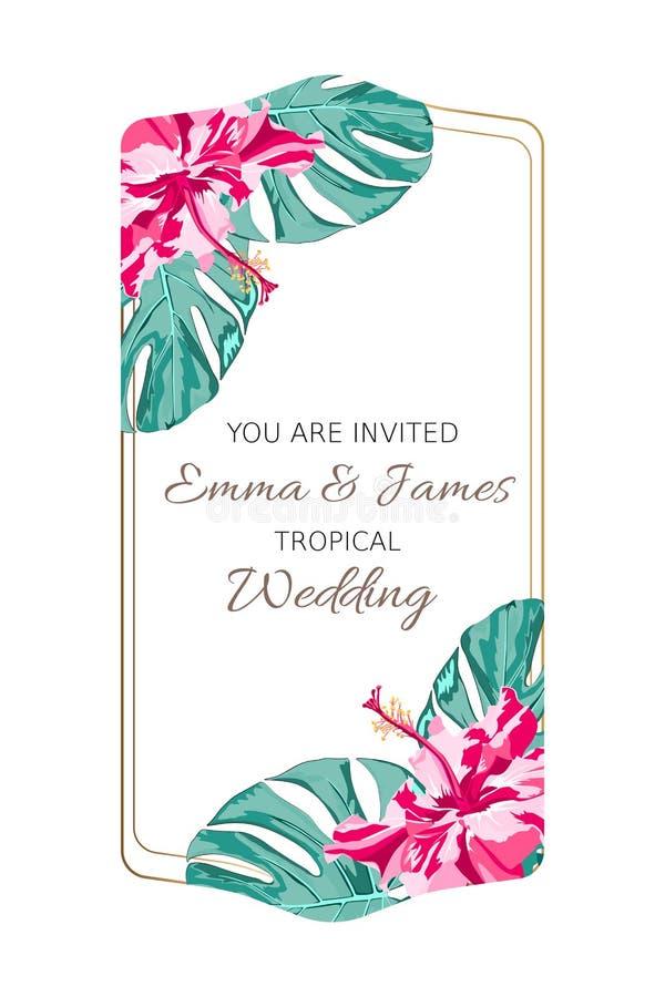 Τροπική εκλεκτής ποιότητας γαμήλια πρόσκληση με τα φύλλα φοινικών και τα εξωτικά λουλούδια κύκλος πλαισίων επίσης corel σύρετε το ελεύθερη απεικόνιση δικαιώματος