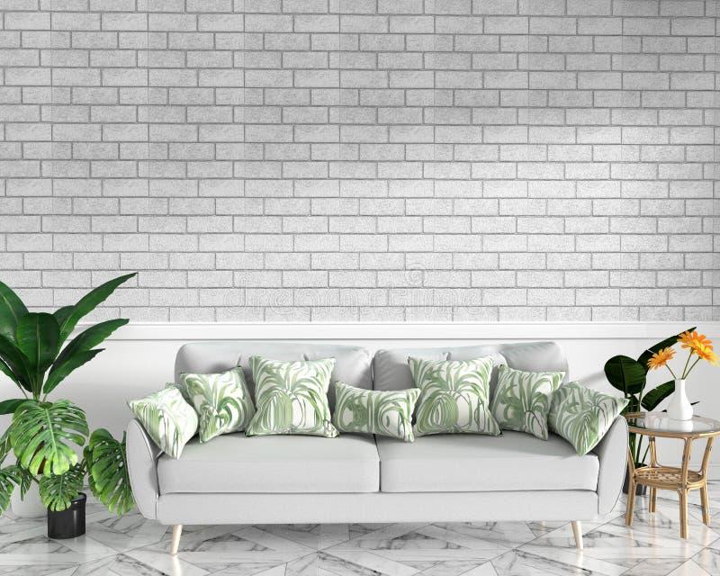Τροπική εσωτερική χλεύη σοφιτών επάνω με τον καναπέ και τη διακόσμηση και τον άσπρο τουβλότοιχο στο πάτωμα γρανίτη r ελεύθερη απεικόνιση δικαιώματος