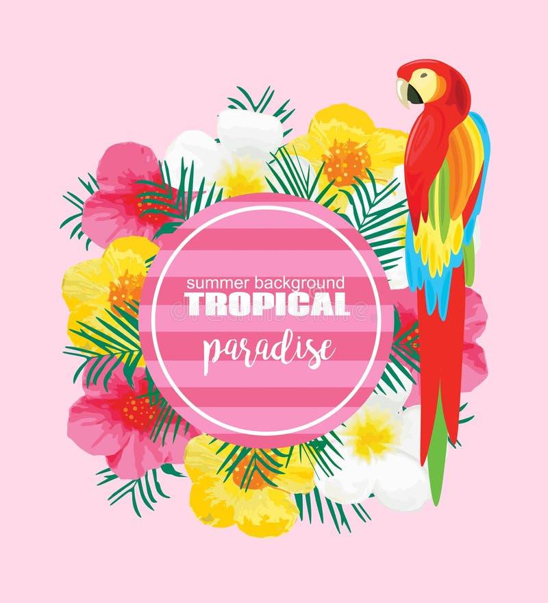 Τροπική θερινή αφίσα με τον παπαγάλο, εξωτικά λουλούδια, φύλλα φοινικών Διανυσματική απεικόνιση για το έμβλημα, σκηνικό, μπλούζα, διανυσματική απεικόνιση