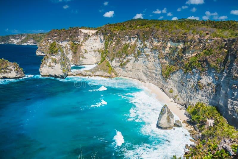 Τροπική παραλία διαμαντιών με τους φοίνικες καρύδων και τον απότομο βράχο στοκ εικόνες