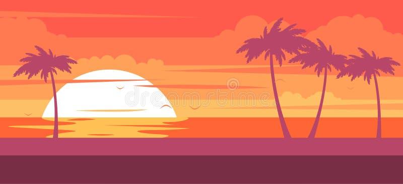 Τροπική παραλία με τους φοίνικες και τη θάλασσα - θερινό θέρετρο στο ηλιοβασίλεμα διανυσματική απεικόνιση