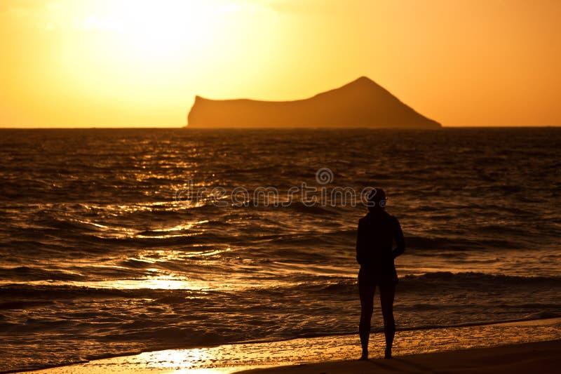 Τροπική παραλία στην ανατολή στοκ φωτογραφία με δικαίωμα ελεύθερης χρήσης