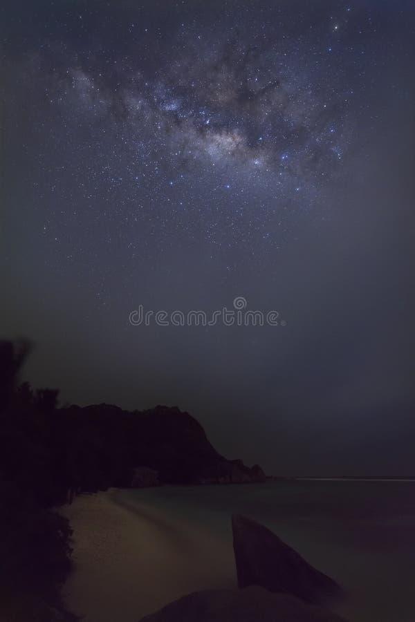 Τροπική παραλία και γαλακτώδης τρόπος στοκ εικόνες με δικαίωμα ελεύθερης χρήσης