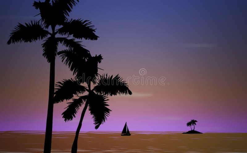 Τροπική παραλία φοινικών στοκ εικόνες με δικαίωμα ελεύθερης χρήσης