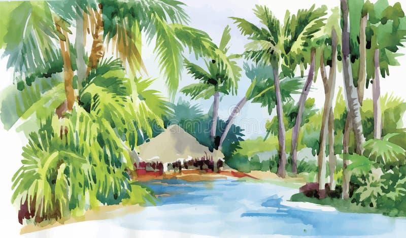 Τροπική παραλία watercolor με τους φοίνικες και τη διανυσματική απεικόνιση καλυβών απεικόνιση αποθεμάτων
