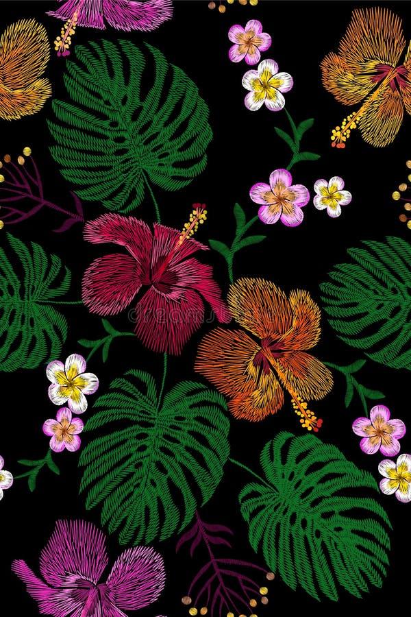 Τροπική ρύθμιση λουλουδιών κεντητικής Εξωτική θερινή ζούγκλα ανθών εγκαταστάσεων Υφαντικό μπάλωμα τυπωμένων υλών μόδας Hibiscus τ διανυσματική απεικόνιση