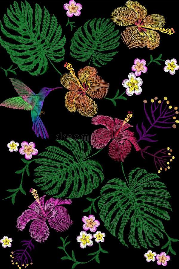 Τροπική ρύθμιση λουλουδιών κεντητικής Εξωτική θερινή ζούγκλα ανθών εγκαταστάσεων Υφαντικό μπάλωμα τυπωμένων υλών μόδας Hibiscus τ απεικόνιση αποθεμάτων