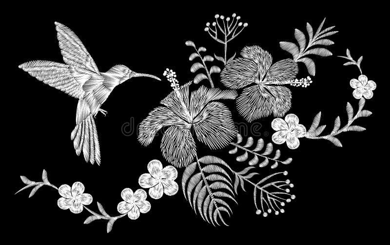 Τροπική ρύθμιση λουλουδιών κεντητικής κολιβρίων Εξωτική θερινή ζούγκλα ανθών εγκαταστάσεων φοινικών Υφαντικό μπάλωμα τυπωμένων υλ διανυσματική απεικόνιση