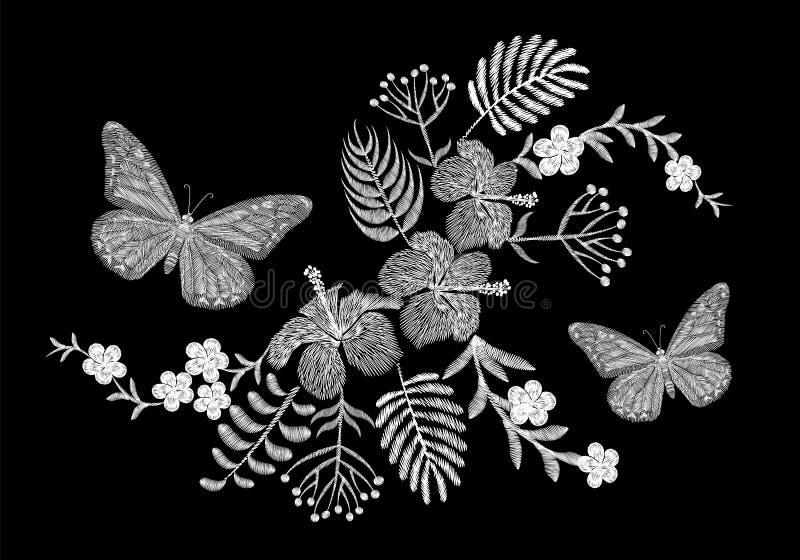 Τροπική ρύθμιση λουλουδιών κεντητικής πεταλούδων Εξωτική θερινή ζούγκλα ανθών εγκαταστάσεων φοινικών Υφαντικό μπάλωμα τυπωμένων υ διανυσματική απεικόνιση