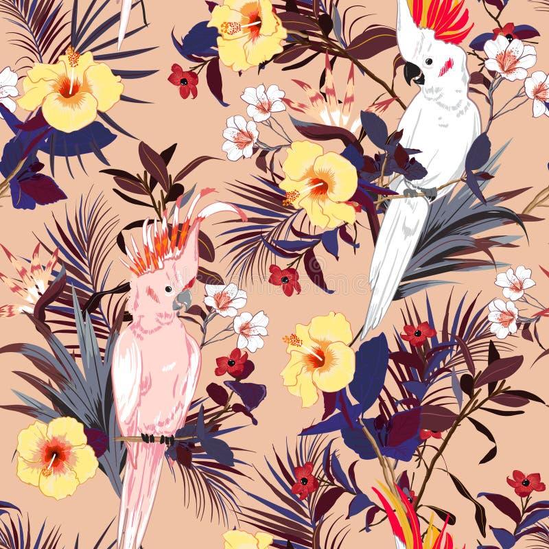 Τροπική floral τυπωμένη ύλη Πουλί παπαγάλων στη ζούγκλα και τα λουλούδια μέσα απεικόνιση αποθεμάτων