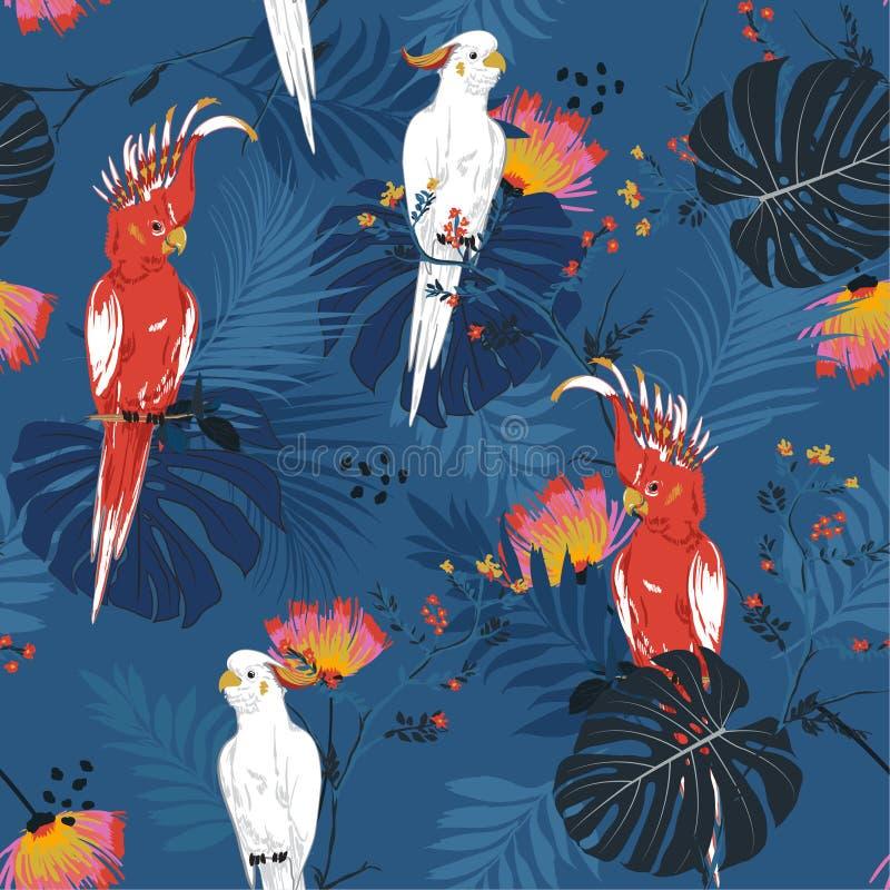 Τροπική floral τυπωμένη ύλη Πουλί παπαγάλων στη ζούγκλα και τα λουλούδια μέσα διανυσματική απεικόνιση