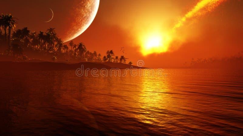 Τροπικός παράδεισος φαντασίας ελεύθερη απεικόνιση δικαιώματος
