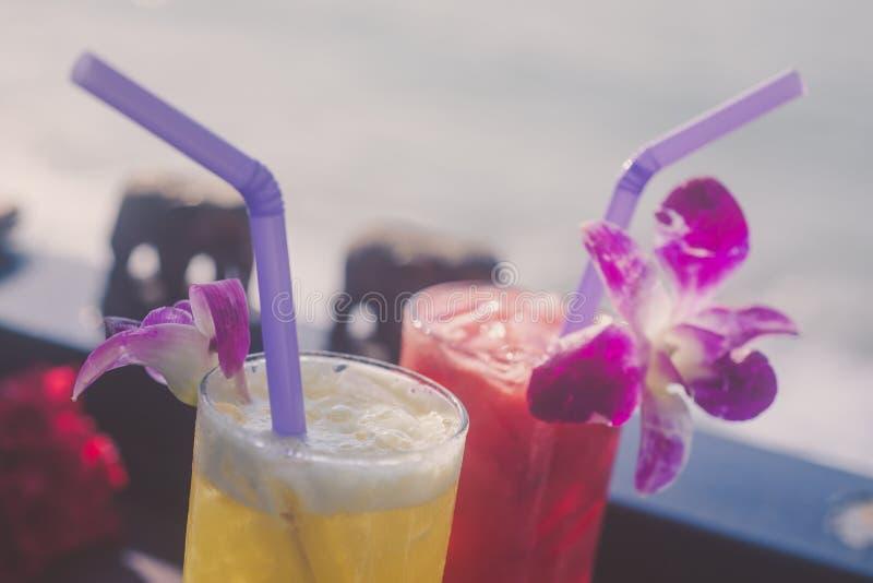 Τροπικός χυμός δύο του καρπουζιού και του λουλουδιού στοκ εικόνες με δικαίωμα ελεύθερης χρήσης