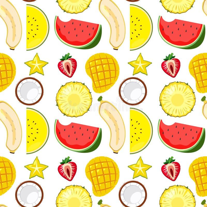 Τροπικός Fruity ένας άνευ ραφής διανυσματική απεικόνιση
