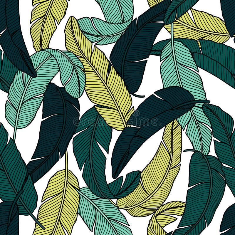 Τροπικό άνευ ραφής σχέδιο ζουγκλών με τα φύλλα μπανανών ελεύθερη απεικόνιση δικαιώματος