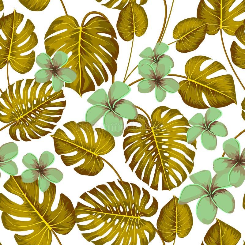 Τροπικό άνευ ραφής σχέδιο με τα εξωτικά φύλλα φοινικών και τροπικό λουλούδι Τροπικό monstera Της Χαβάης ύφος r απεικόνιση αποθεμάτων