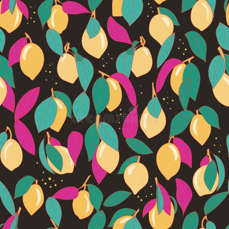 Τροπικό άνευ ραφής σχέδιο με τα κίτρινα λεμόνια Επαναλαμβανόμενο φρούτα υπόβαθρο Διανυσματική φωτεινή τυπωμένη ύλη για το ύφασμα  απεικόνιση αποθεμάτων