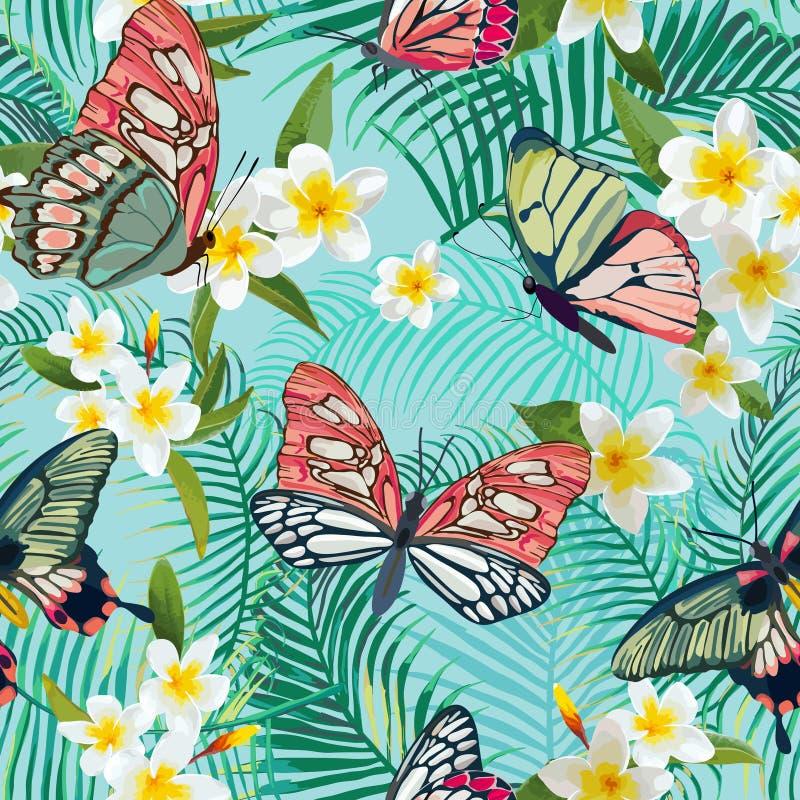 Τροπικό άνευ ραφής σχέδιο με τα λουλούδια και τις εξωτικές πεταλούδες Floral υπόβαθρο φύλλων φοινικών Σχέδιο υφάσματος μόδας διανυσματική απεικόνιση