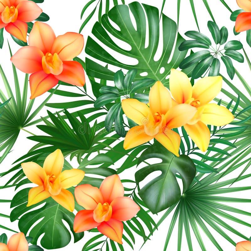 Τροπικό άνευ ραφής σχέδιο με τα φύλλα και τα λουλούδια φοινικών επίσης corel σύρετε το διάνυσμα απεικόνισης διανυσματική απεικόνιση