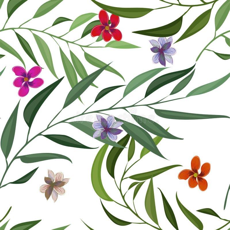 Τροπικό άνευ ραφής σχέδιο με τα φύλλα και τα λουλούδια φοινικών επίσης corel σύρετε το διάνυσμα απεικόνισης ελεύθερη απεικόνιση δικαιώματος