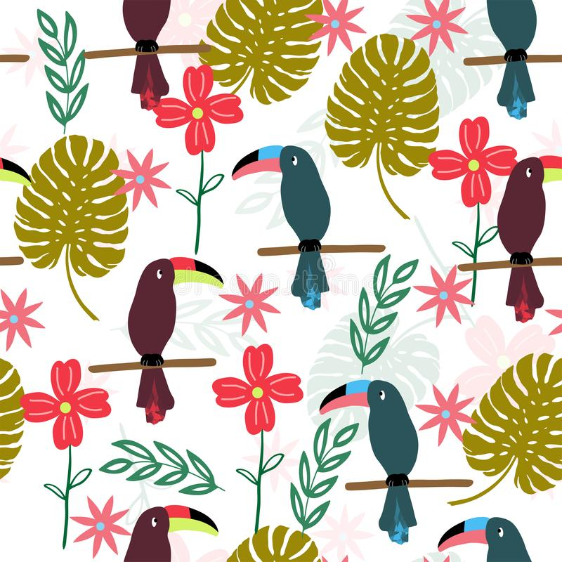 Τροπικό άνευ ραφής σχέδιο με τα toucans ελεύθερη απεικόνιση δικαιώματος