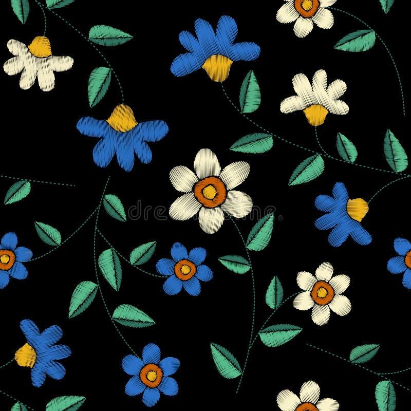 Τροπικό άνευ ραφής σχέδιο σχεδίου κεντητικής floral ελεύθερη απεικόνιση δικαιώματος