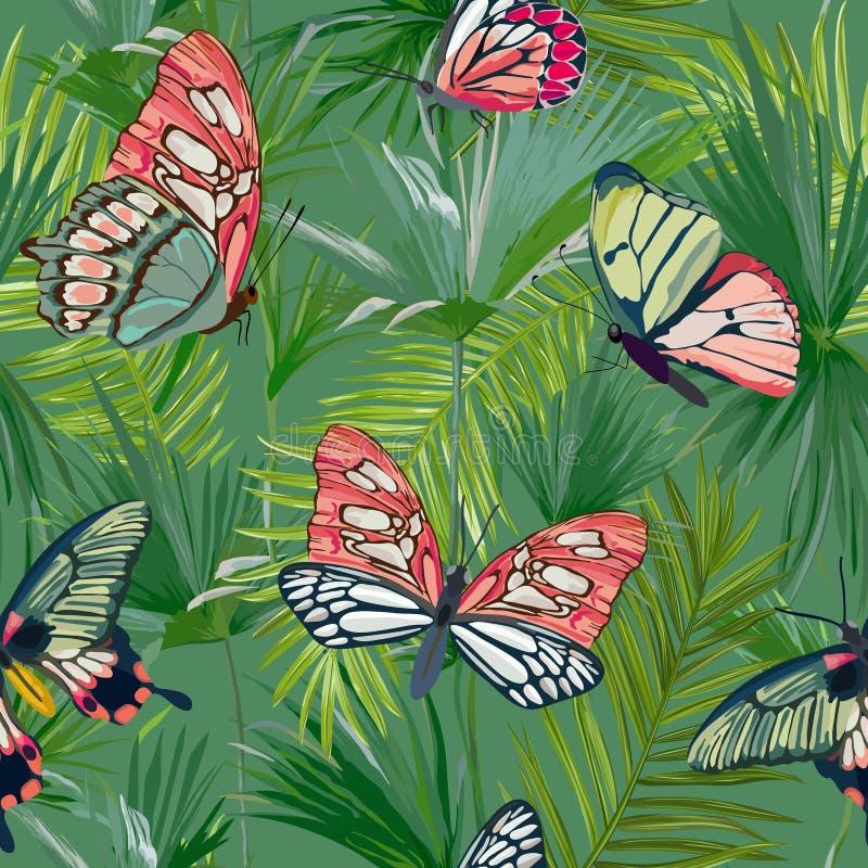 Τροπικό άνευ ραφής σχέδιο φύλλων φοινικών Υπόβαθρο ζουγκλών με τις εξωτικές πεταλούδες Floral σχέδιο μόδας για το ύφασμα, κλωστοϋ απεικόνιση αποθεμάτων