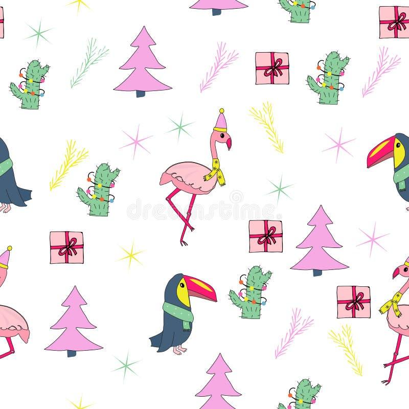 Τροπικό άνευ ραφής σχέδιο Χριστουγέννων ελεύθερη απεικόνιση δικαιώματος