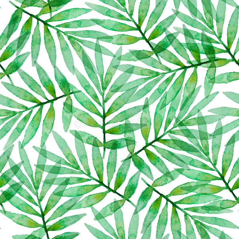 Τροπικό άνευ ραφής σχέδιο watercolor με τα φύλλα φοινικών ελεύθερη απεικόνιση δικαιώματος