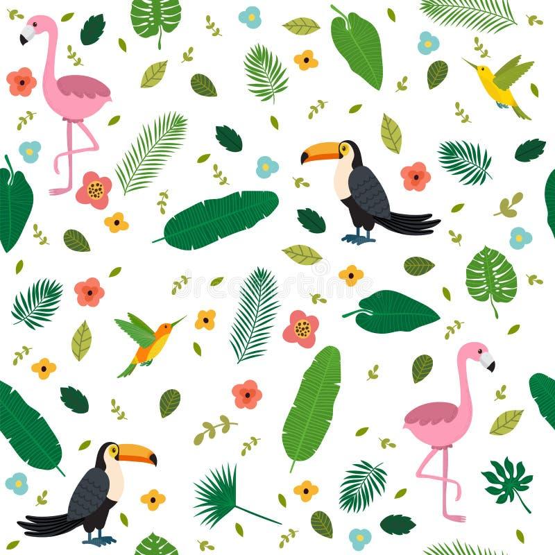 Τροπικό άνευ ραφής σχέδιο με τα ρόδινα φλαμίγκο, toucans διανυσματική απεικόνιση