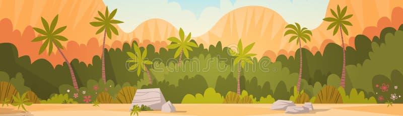 Τροπικό δάσος με τις θερινές διακοπές θερέτρου υποβάθρου βουνών διανυσματική απεικόνιση