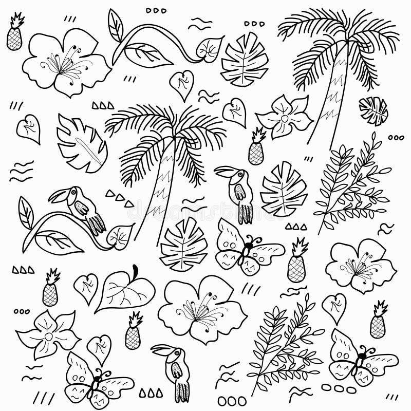 Τροπικό δασικό διάνυσμα ύφους doodle ελεύθερη απεικόνιση δικαιώματος