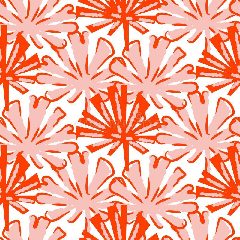 Τροπικό διάνυσμα σχεδίων φύλλων άνευ ραφής στα κόκκινα τυποποιημένα χρώματα διανυσματική απεικόνιση