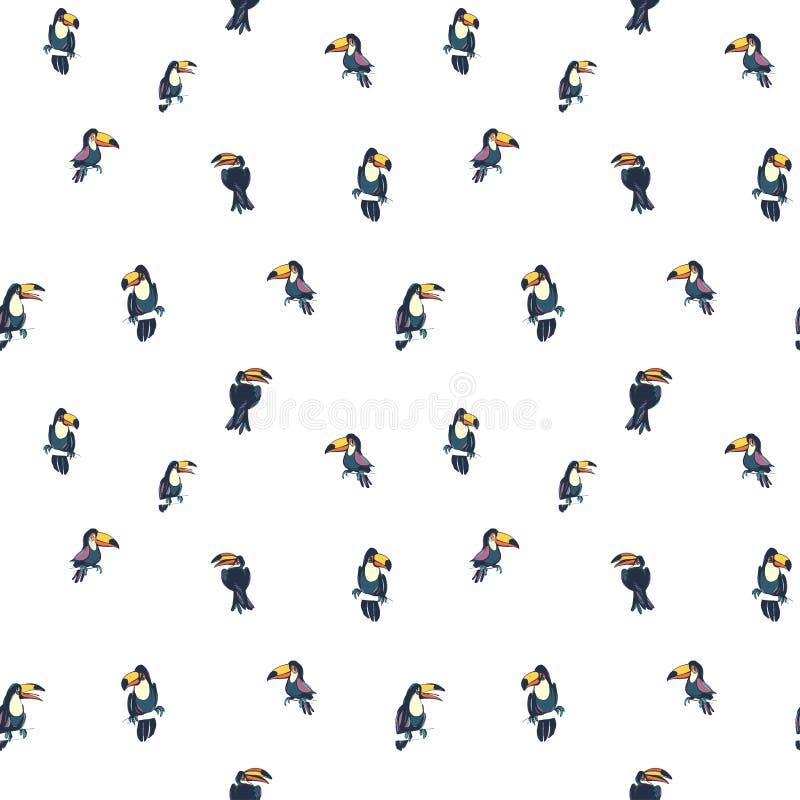 Τροπικό εξωτικό σχέδιο υποβάθρου θερινού άνευ ραφής hipster παπαγάλων πουλιών toucans διανυσματική απεικόνιση