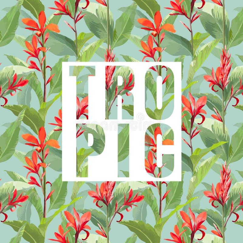 Τροπικό εξωτικό υπόβαθρο λουλουδιών και φύλλων διανυσματική απεικόνιση
