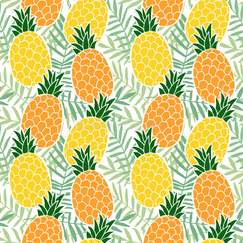 Τροπικό θερινό άνευ ραφής σχέδιο Φρούτα ανανά, φύλλα φοινικών Επίπεδο σχέδιο της Χαβάης διάνυσμα διανυσματική απεικόνιση