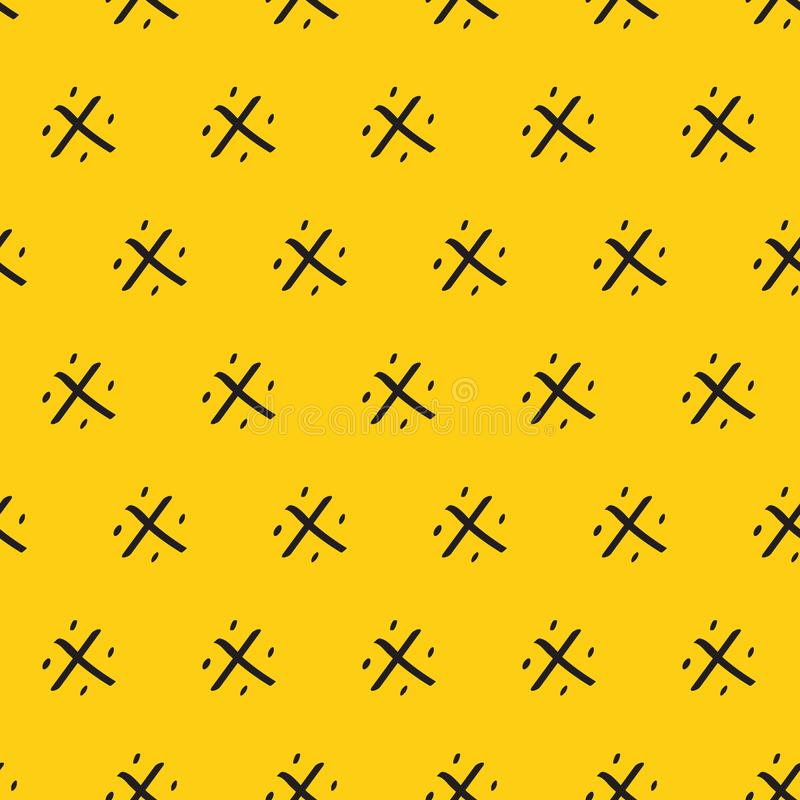 Τροπικό θερινό άνευ ραφής υπόβαθρο Κίτρινο περίκομψο διάνυσμα ανανά διακοσμήσεων σχεδίων αφηρημένο μαύρο συρμένο χέρι ελεύθερη απεικόνιση δικαιώματος