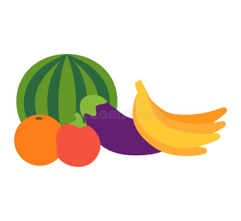 Τροπικό διανυσματικό σύνολο φρούτων διανυσματική απεικόνιση
