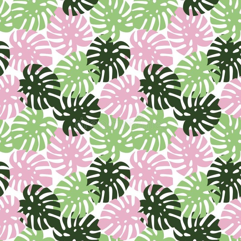Τροπικό καλοκαίρι φύλλων Monstera ρόδινο, ανοικτό πράσινο και σκούρο πράσινο απεικόνιση αποθεμάτων