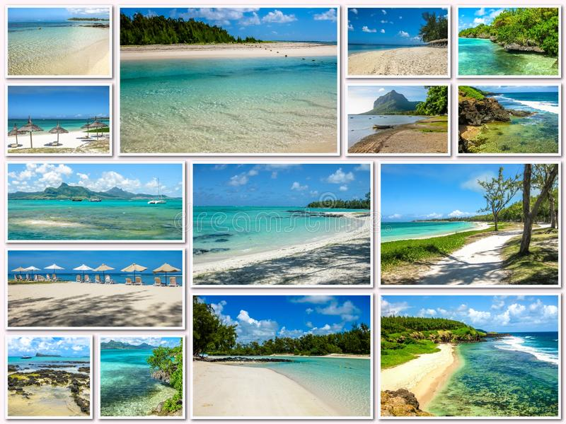 Download Τροπικό κολάζ παραλιών του Μαυρίκιου Στοκ Εικόνα - εικόνα από ωκεανός, μαλβίδες: 62718995
