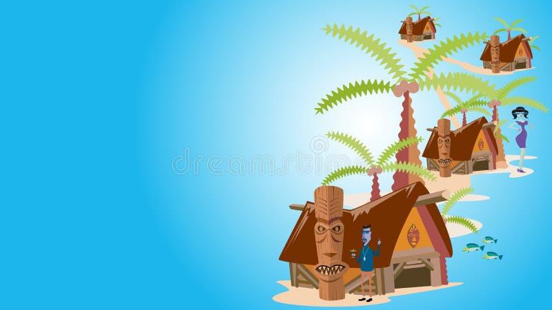 Τροπικό νησί με τους φοίνικες, διανυσματική απεικόνιση στοκ εικόνες