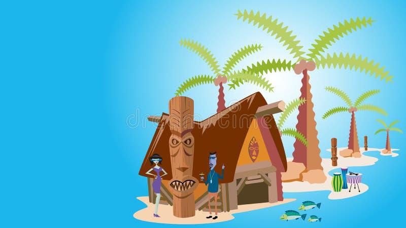 Τροπικό νησί με τους φοίνικες, διανυσματική απεικόνιση στοκ εικόνα