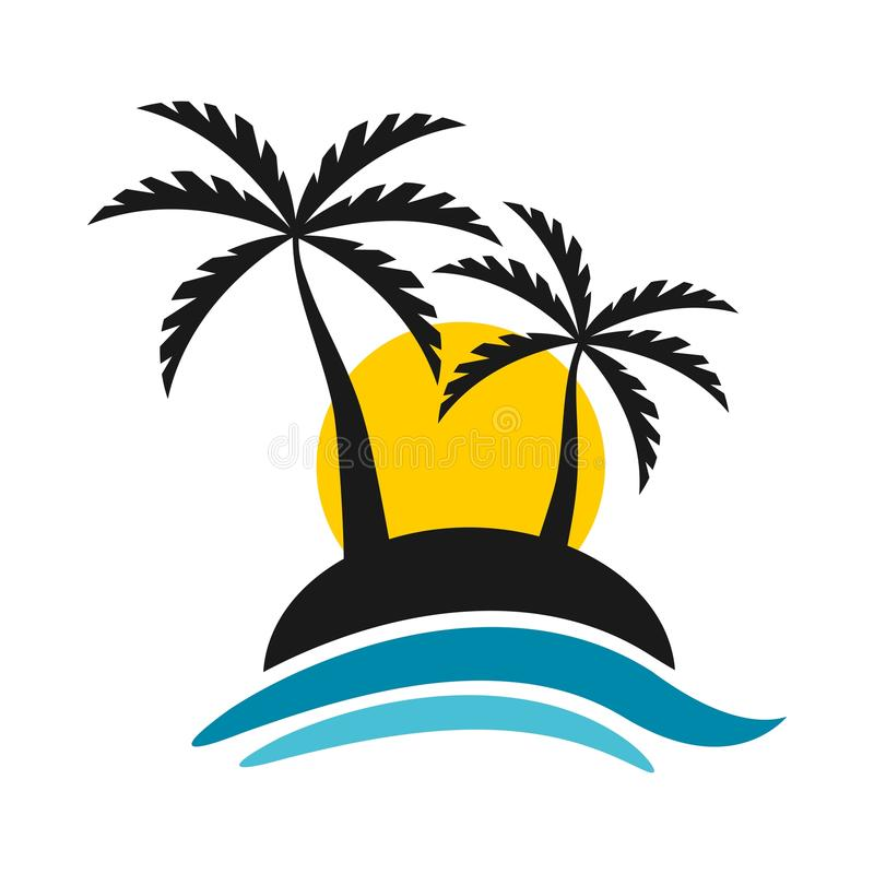 Τροπικό νησί με το ηλιοβασίλεμα και το διανυσματικό σχέδιο λογότυπων θάλασσας στοκ εικόνες με δικαίωμα ελεύθερης χρήσης