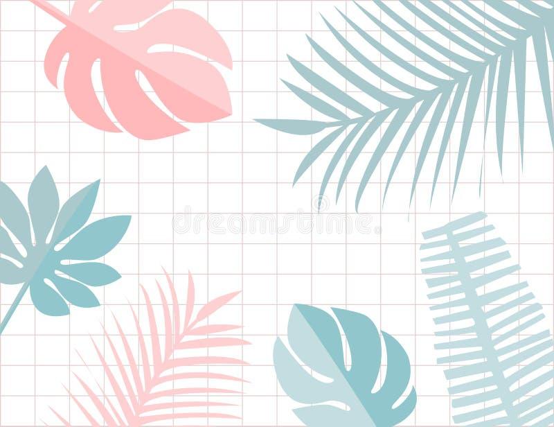 Τροπικό πλαίσιο φύλλων με το copyspace Ρόδινο και μπλε τροπικό θερινό υπόβαθρο κρητιδογραφιών Monstera και φύλλο διανυσματική απεικόνιση