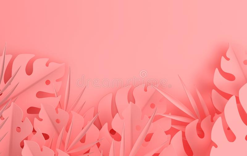 Τροπικό πλαίσιο φύλλων φοινικών εγγράφου Θερινό τροπικό χρωματισμένο κρητιδογραφία φύλλο Εξωτικό της Χαβάης φύλλωμα ζουγκλών Orig ελεύθερη απεικόνιση δικαιώματος