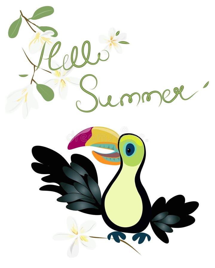 Τροπικό πουλί Toucan Πρότυπο θερινής πώλησης για την αφίσα, έμβλημα, κάρτα απεικόνιση αποθεμάτων