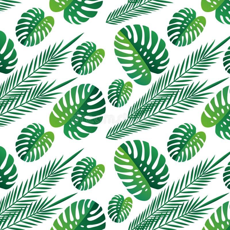 Τροπικό πράσινο άσπρο υπόβαθρο σχεδίων φύλλων άνευ ραφής Εξωτική ταπετσαρία τροπικά φύλλα φύση, τυπωμένη ύλη υποβάθρου διανυσματική απεικόνιση