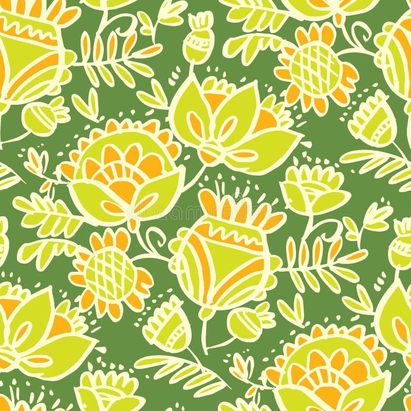 Τροπικό πράσινο αφηρημένο floral άνευ ραφής σχέδιο σκίτσων ελεύθερη απεικόνιση δικαιώματος